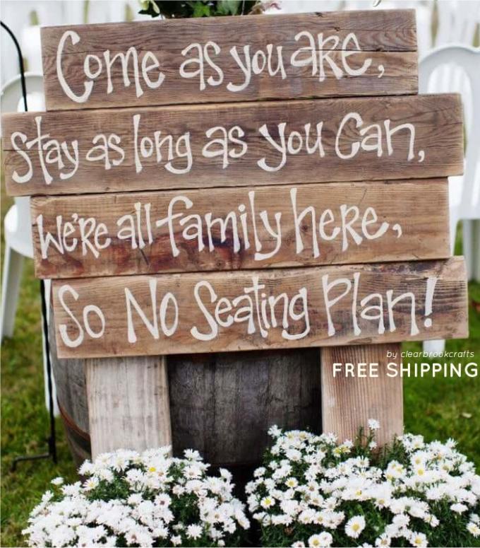 wedding sign sit anywhere