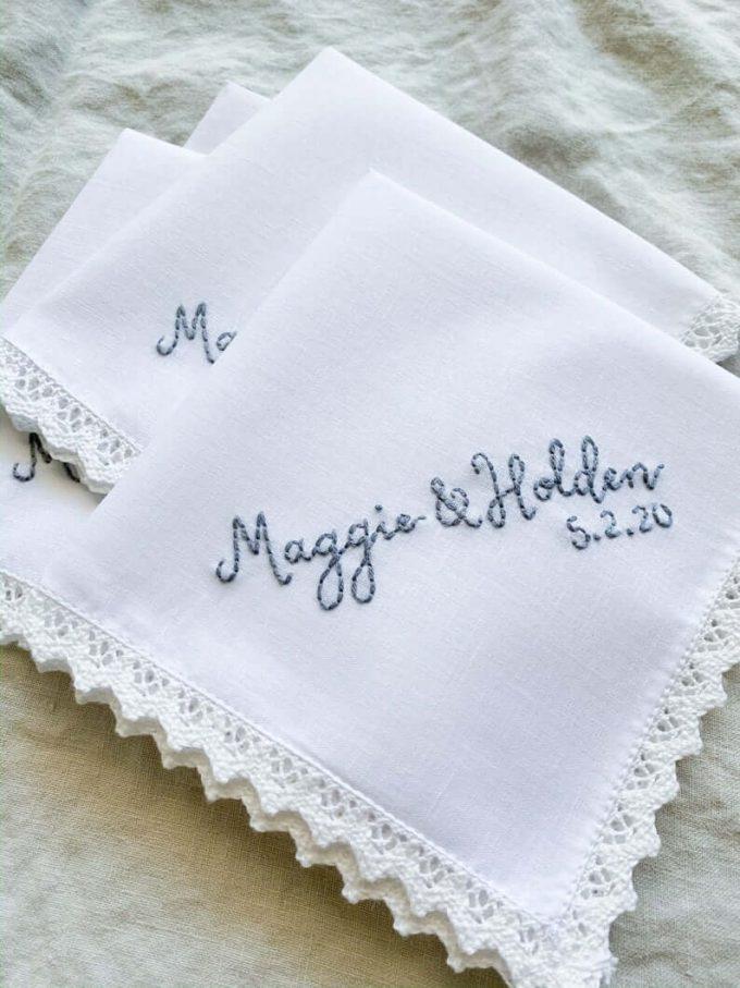 personalized mrs handkerchief