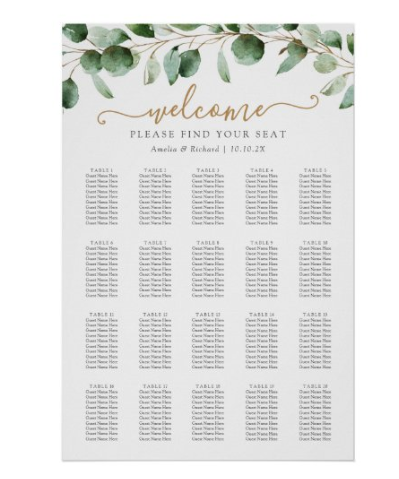 place cards and a seating chart