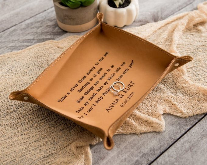 engraved leather tray