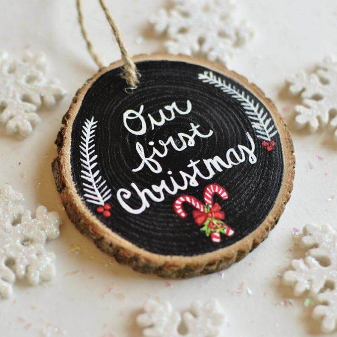 custom christmas ornaments on wood slices