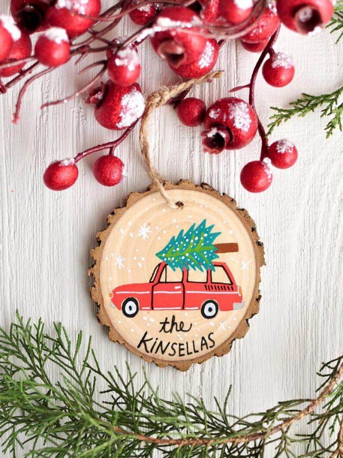 handmade christmas ornaments on wood slices