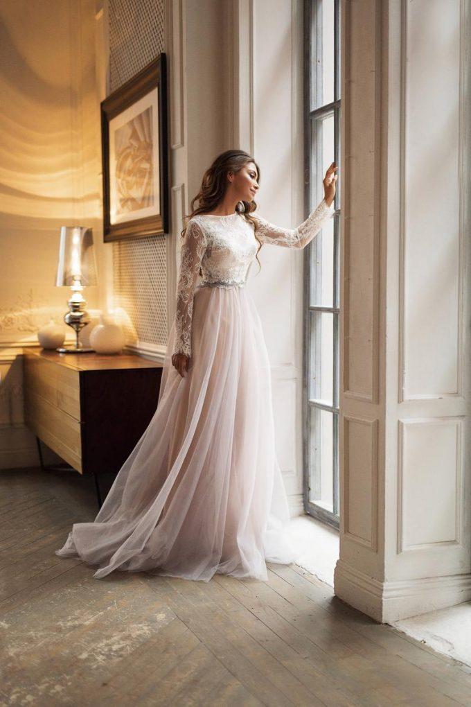 long sleeve high neck wedding dress