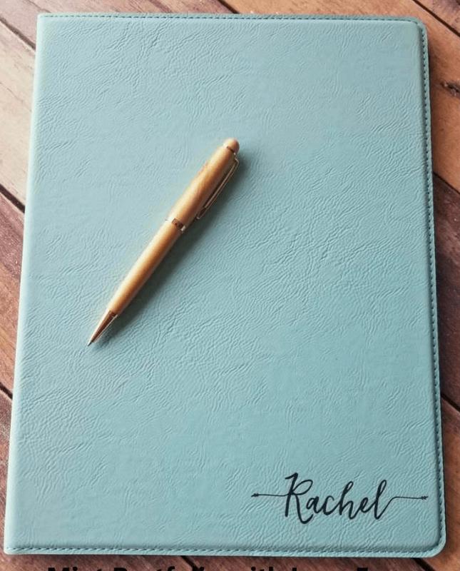 personalized leather portfolio notebook