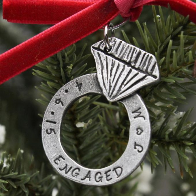 personalized engagement ornament christmas