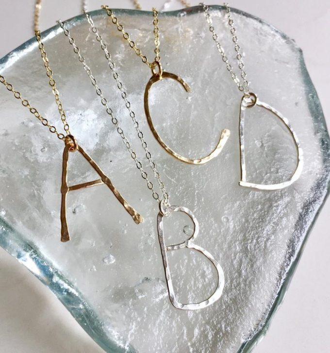 hammered letter necklace