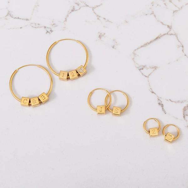 block letter jewelry earring style