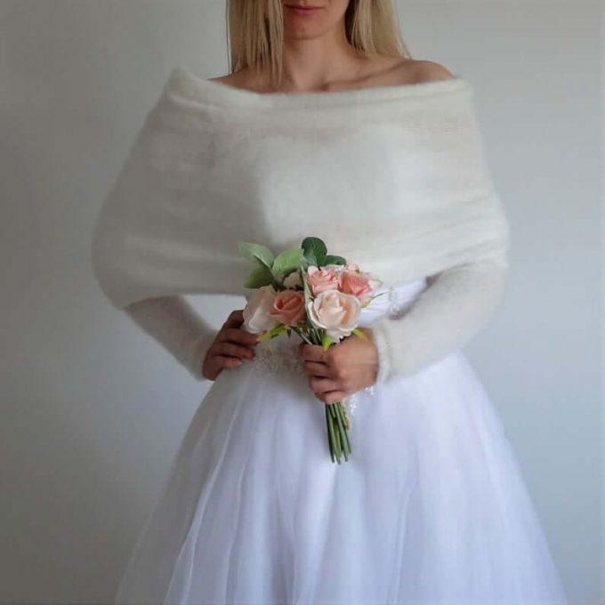 sweater over wedding dress