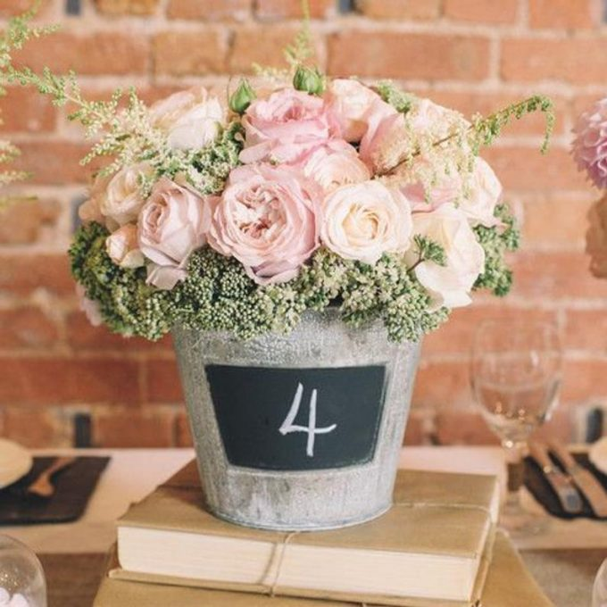rustic centerpiece with chalkboard