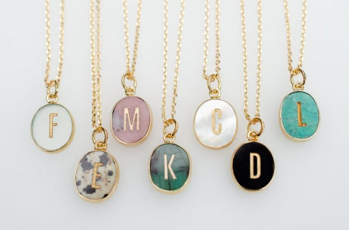 gemstone initial necklace