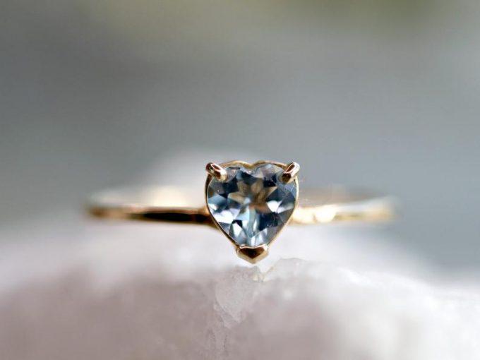 heart shaped aquamarine ring