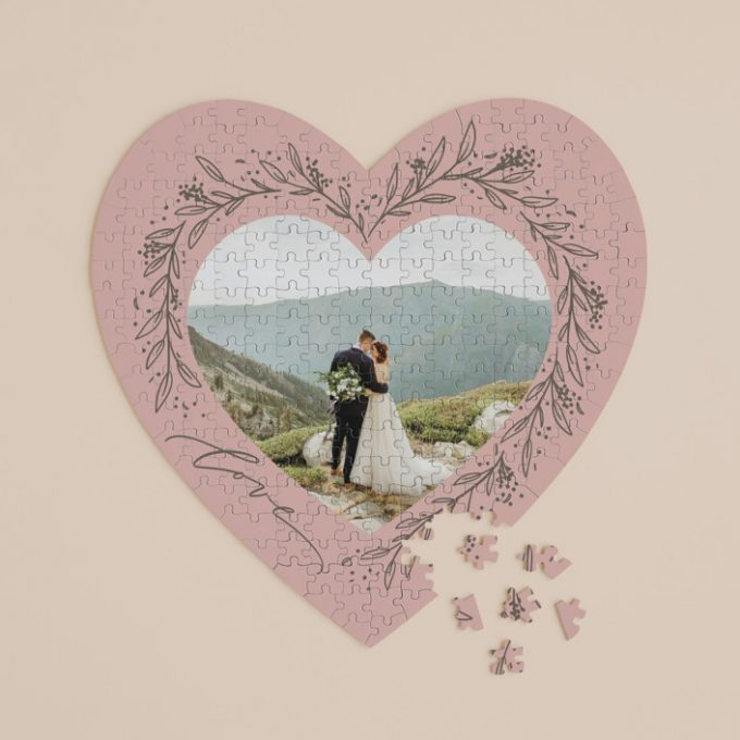 heart shaped puzzle guest book