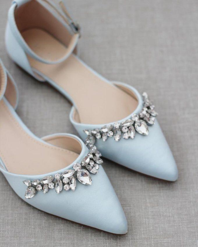 blue bridal flats with ribbon