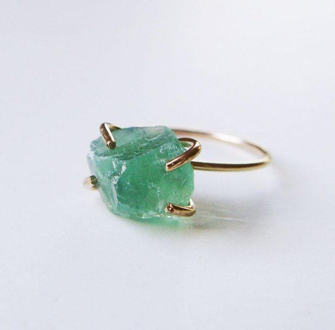 raw emerald ring