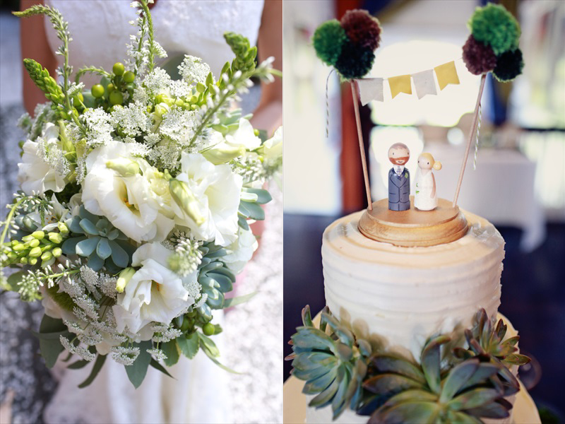 The bouquet and the cake, with a cute garland cake topper and painted wooden figurines | Photographer: Melissa Prosser Photography | via https://emmalinebride.com/real-weddings/colleen-ryans-lovely-savannah-wedding-at-the-mansion-on-forsyth-park