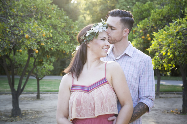 he kisses her forehead at their Santa Fe Springs engagement session