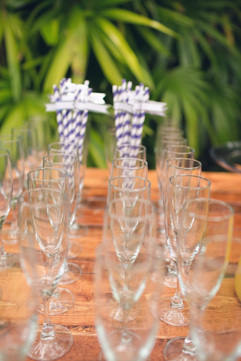 Champagne flutes and striped straws | Rustic Glam Bridal Shower | styled: adore amor event planning, photo: little blue bird photography | https://emmalinebride.com/shower/rustic-glam-bridal-shower/