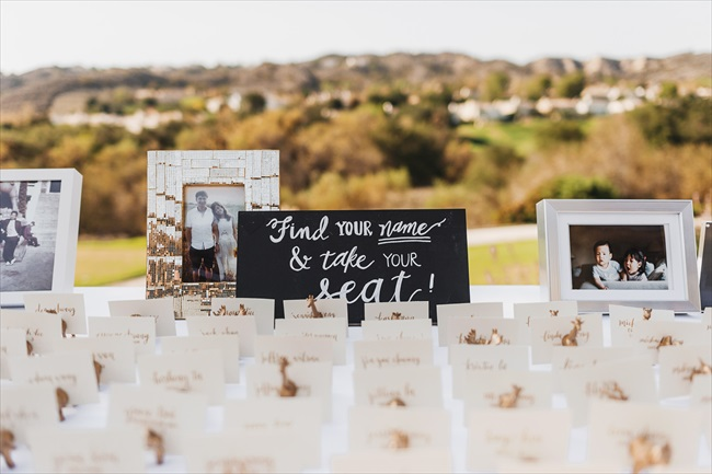 Real Wedding - Gold and Black Wedding | via emmalinebride.com | find your name and take your seat