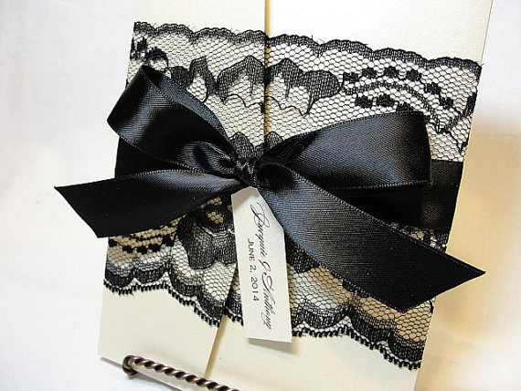 Real Lace Wedding Invitations in Black Lace