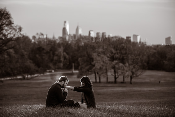 Caity and Dave's engagement session at the Belmont Plateau in Philadelphia