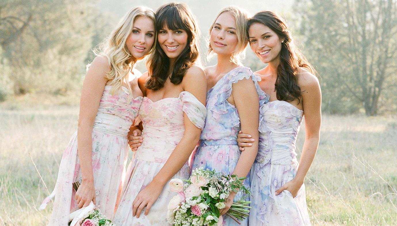 Bridesmaids in Pretty Floral Print Bridesmaid Dresses