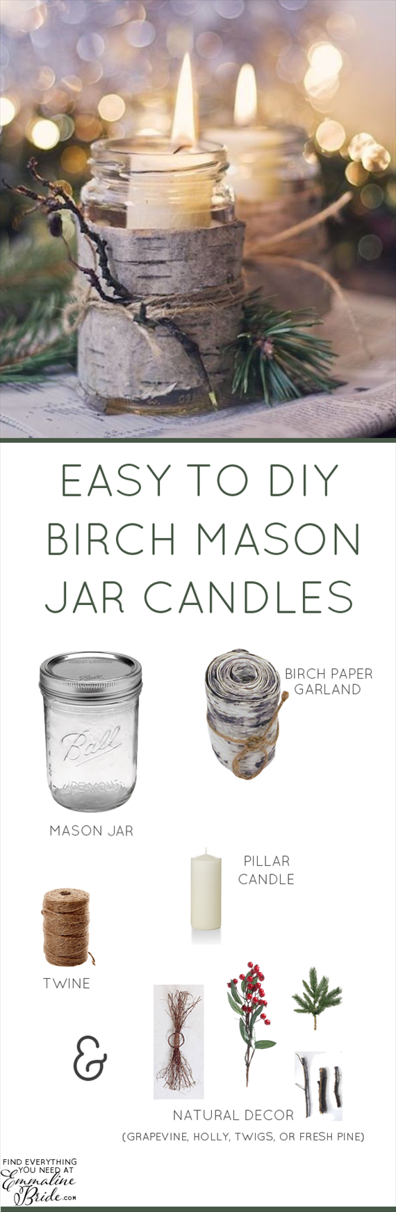 How to Make DIY Birch Mason Jar Candles | https://emmalinebride.com/reception/birch-mason-jar-candles/