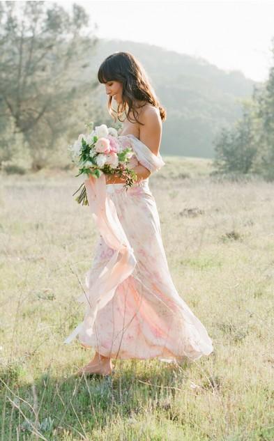 Light Peach Floral Floor Length Bridesmaid Dresses