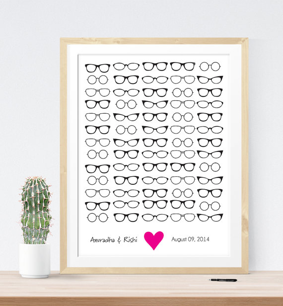 Hipster Themed Wedding Eyeglass Guest Book | 21 Unique Themed Guest Book Alternatives via https://emmalinebride.com/reception/themed-guest-book-alternatives/