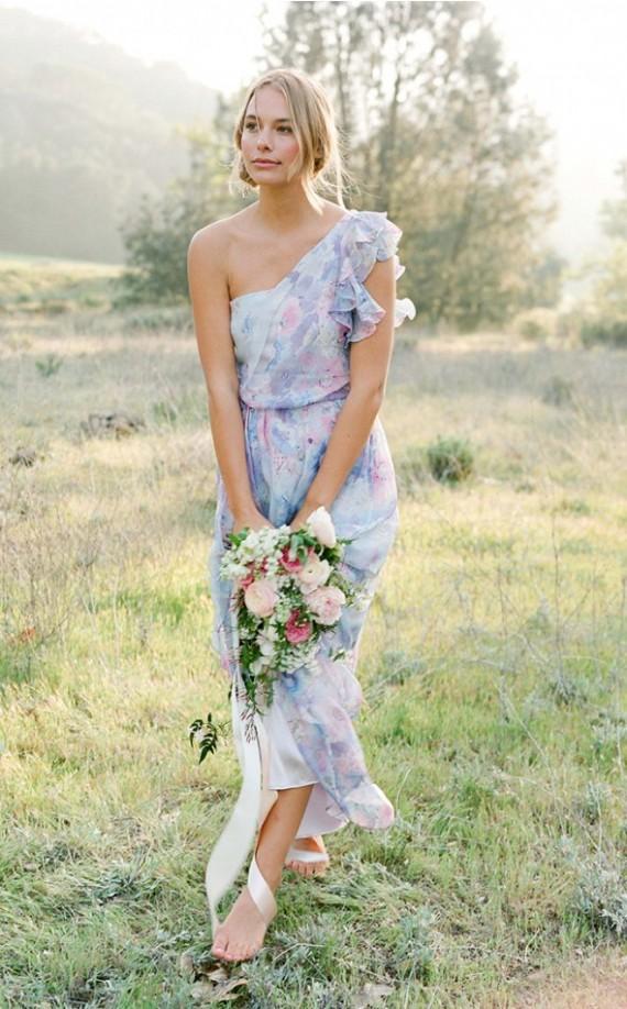 One Shoulder Style   Pretty Floral Print Bridesmaid Dresses