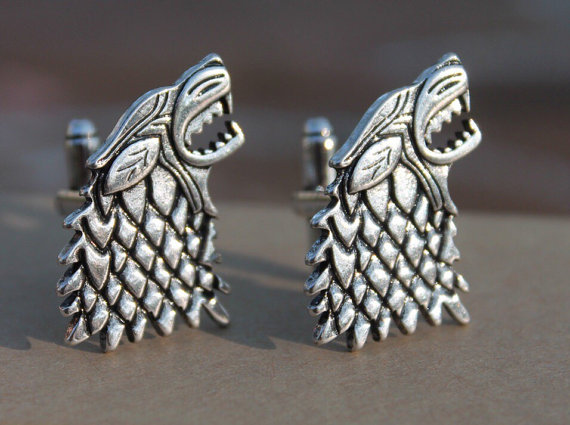 Game of Thrones Direwolf House Stark Cufflinks | Custom Cufflinks Groomsmen Gifts | via EmmalineBride.com