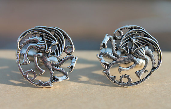 Game of Thrones Targaryen Dragon Cufflinks | Custom Cufflinks Groomsmen Gifts | via EmmalineBride.com