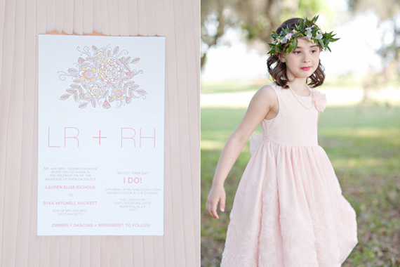 Kali Norton Photography - Mandeville Spring Wedding - wedding invitation and flower girl