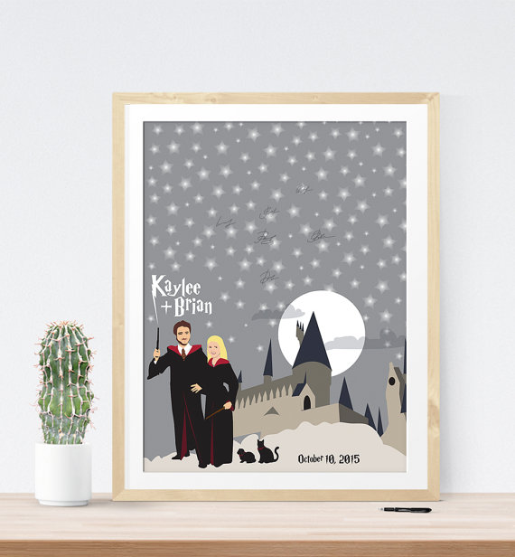 Harry Potter Themed Wedding Guest Book | 21 Unique Themed Guest Book Alternatives via http://emmalinebride.com/reception/themed-guest-book-alternatives/