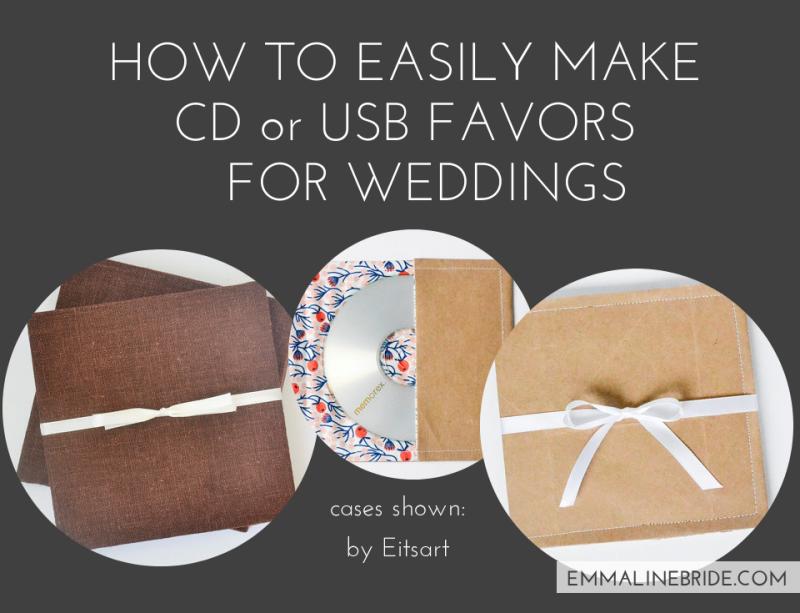 How to Make CD Wedding Favors or USB Wedding Favors | http://emmalinebride.com/favors/cd-usb-favors-weddings/