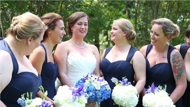 bride with bridesmaids in Villa Chanticleer Wedding Film | Videographer: Baby Blue Film | via https://emmalinebride.com/real-weddings/villa-chanticleer-wedding-film-corey-anthony/