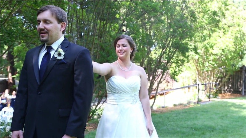 bride and groom first look in Villa Chanticleer Wedding Film | Videographer: Baby Blue Film | via https://emmalinebride.com/real-weddings/villa-chanticleer-wedding-film-corey-anthony/