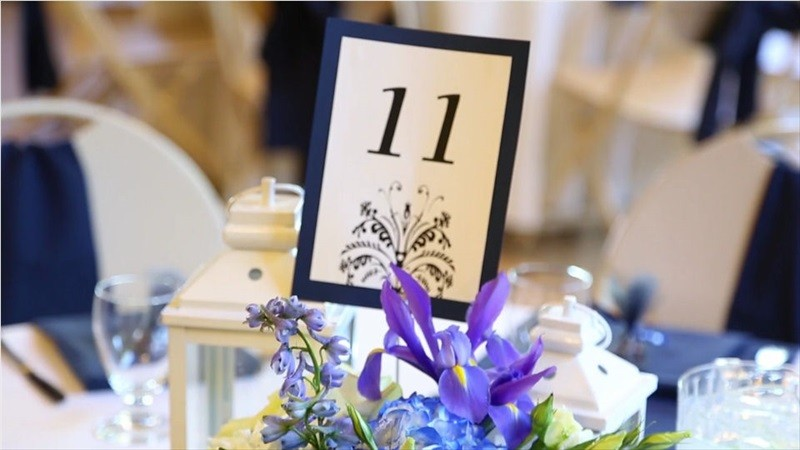 reception table number in Villa Chanticleer Wedding Film | Videographer: Baby Blue Film | via https://emmalinebride.com/real-weddings/villa-chanticleer-wedding-film-corey-anthony/