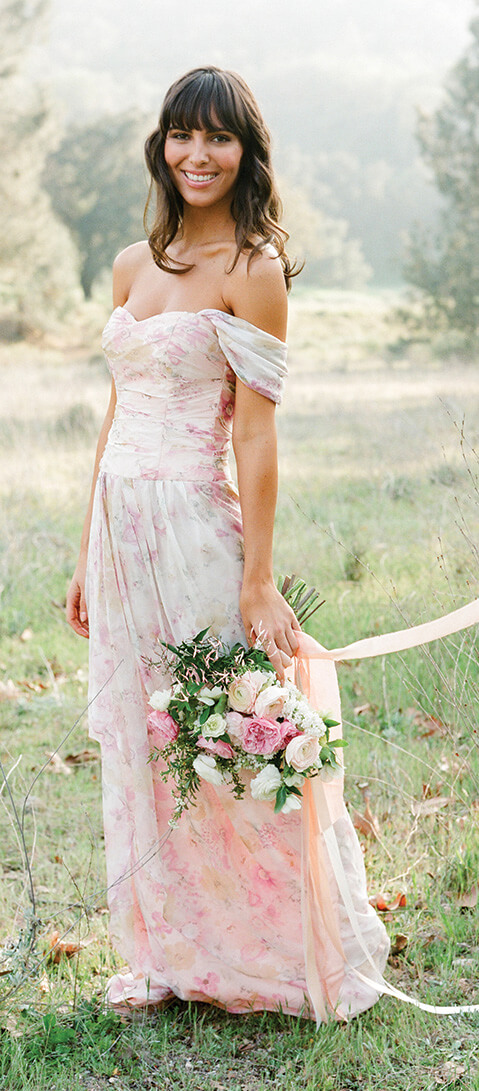 James   Floral Print Bridesmaid Dress