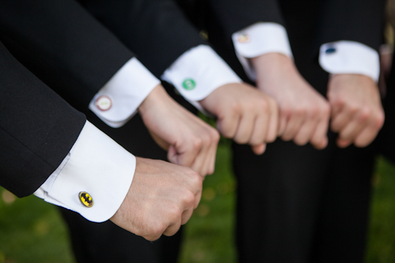 Johnstone Studios - fairytale nevada wedding, superhero cufflinks for groomsmen