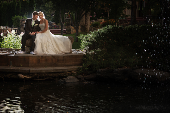 Johnstone Studios - bride and groom by lotus pond