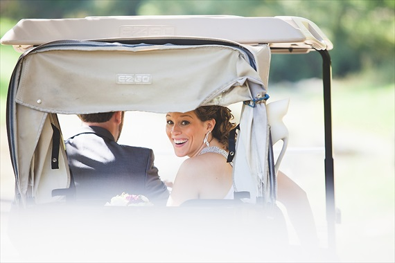 Matthew Steed Wilson Photography - bride in golf cart at Coyote Creek Golf Course - scrabble themed wedding