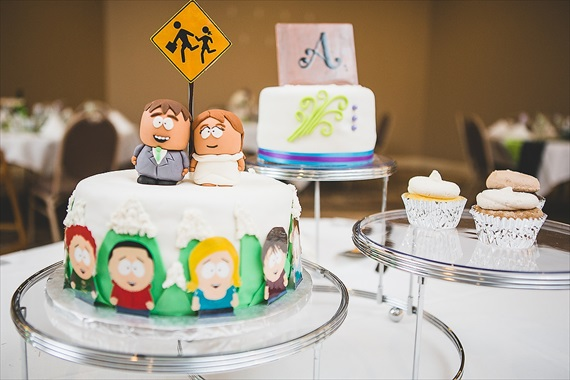 Matthew Steed Wilson Photography - south park wedding cake with personalized cake topper