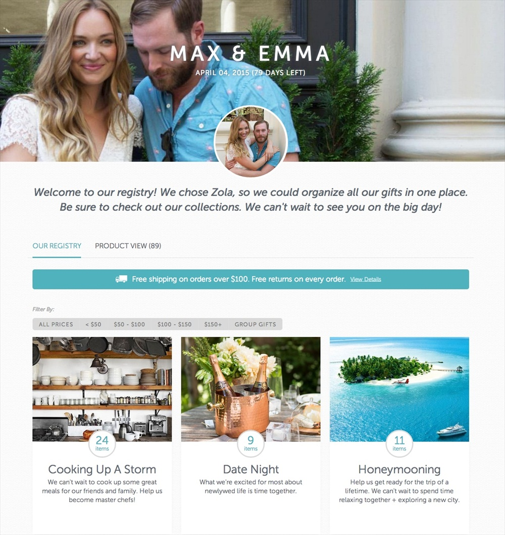 Max and Emma Registry - Zola wedding registry via emmalinebride.com