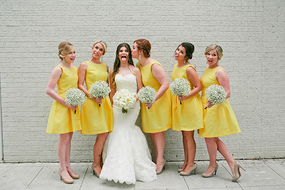 Tate Tullier Photography - Baton Rouge Wedding - fun-pose-bride-and-bridesmaids-with-yellow-dresses