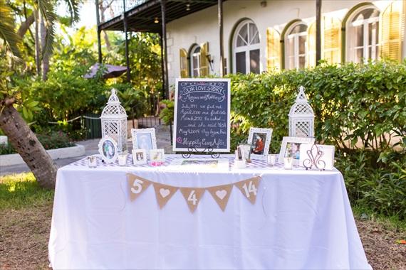 Filda Konec Photography - Hemingway House Wedding - wedding card table with burlap bunting in Key West