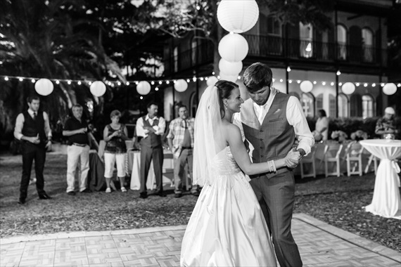 Filda Konec Photography - bride and groom dance under the light at the hemingway house in key west wedding