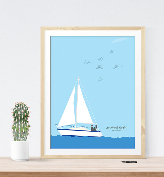 Nautical Wedding Guest Book Alternative Print | 21 Unique Themed Guest Book Alternatives via https://emmalinebride.com/reception/themed-guest-book-alternatives/