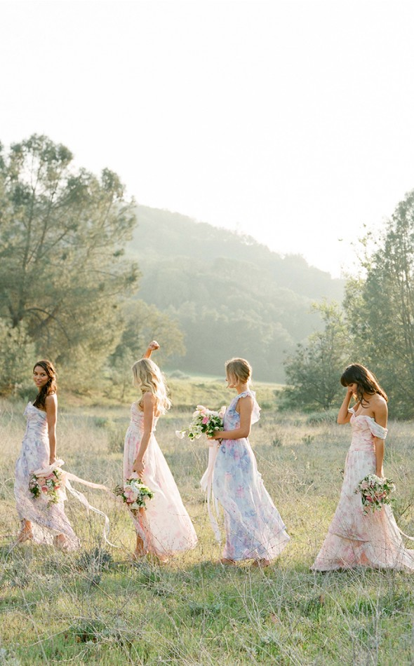 Pretty Floral Print Bridesmaid Dresses in Long Ankle Length