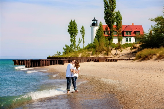 Pointe Betsie Lighthouse on Lake Michigan