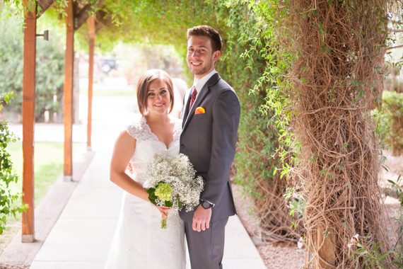 rustic chic arizona wedding bride and groom smiling